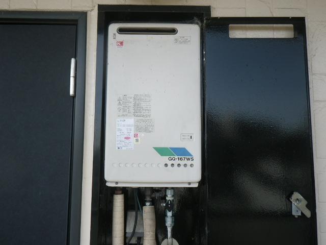 兵庫県宝塚市高司ハイツ リンナイBOX設置型給湯器 取替交換工事施工 GQ-167WS から RUK-V1610BOX-E