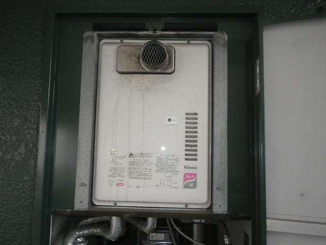 神戸市兵庫区塚本通マンション ノーリツ16号ガス給湯器 取替交換工事施工 リンナイRUX-1611PSOT-EからGQ-1639WS-T-1
